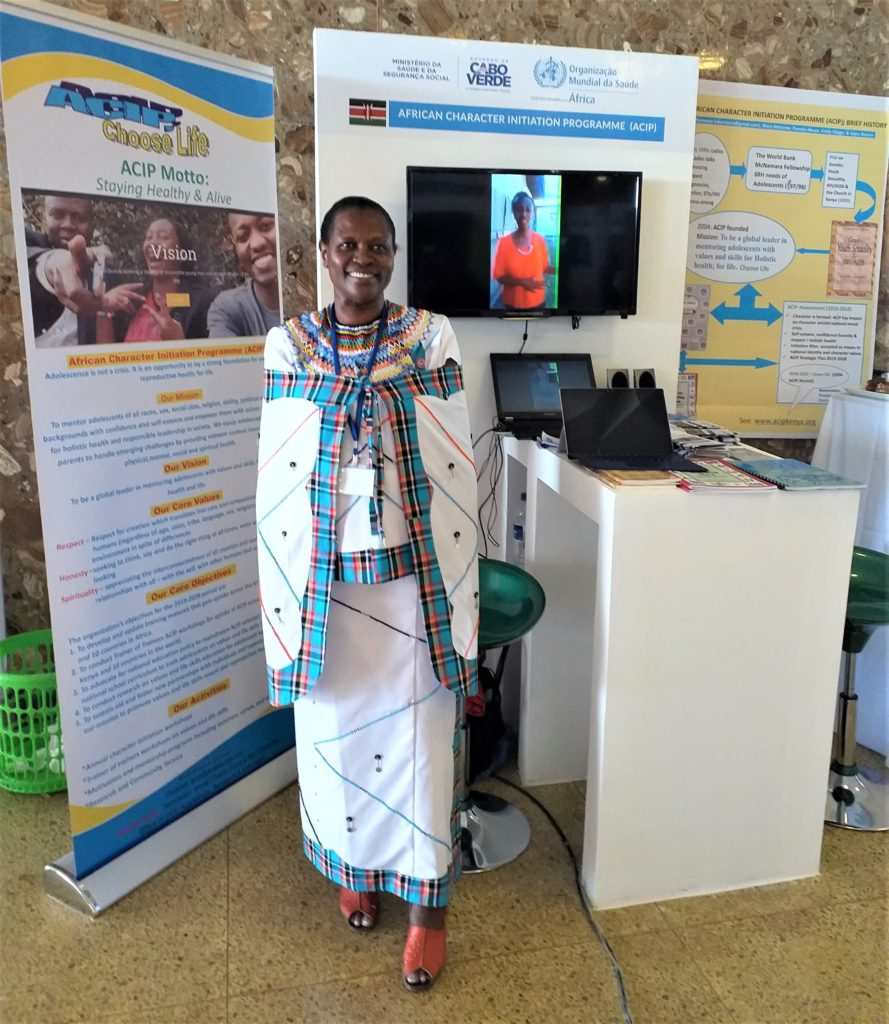Eunice by her stand at the WHO Africa Health Forum, Cape Verde.